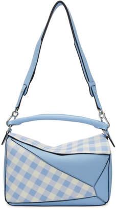 Loewe Blue Gingham Puzzle Bag