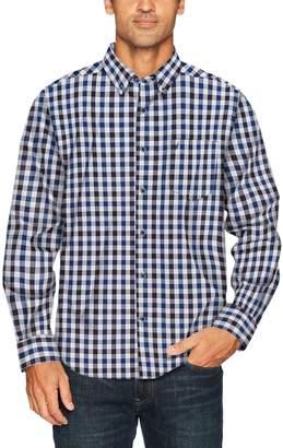 Nautica Men's Long Sleeve Wrinkle Resistant Poplin Plaid Button Down Shirt