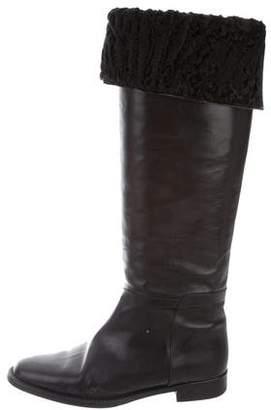 Manolo Blahnik Round-Toe Leather Boots