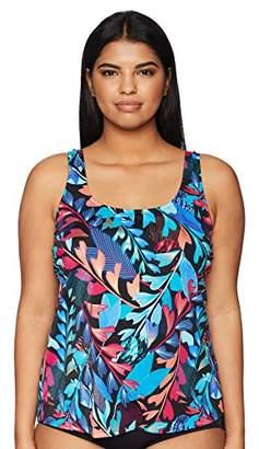 Maxine Of Hollywood Women's Plus Size Scoop Neck Tankini Swimsuit Top