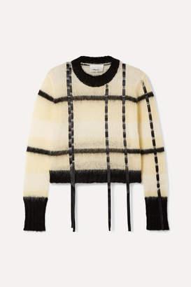 3.1 Phillip Lim Satin-trimmed Striped Open-knit Sweater - Cream