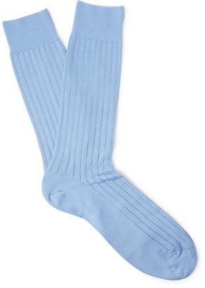 Pantherella Pembrey Ribbed Sea Island Cotton-Blend Socks $35 thestylecure.com