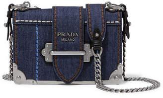 Prada Cahier Small Denim Shoulder Bag - Blue