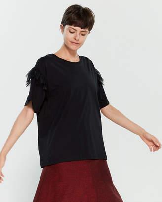Philosophy di Lorenzo Serafini Black Lace Trim Short Sleeve Tee