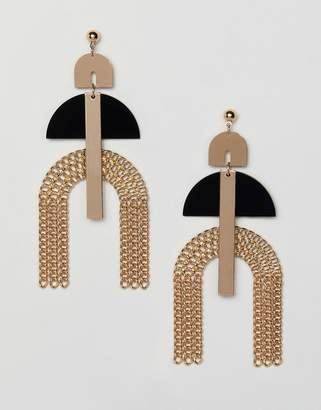 Asos DESIGN earrings with resin and chain fringe in gold