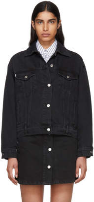 MSGM Black Washed Denim Jacket