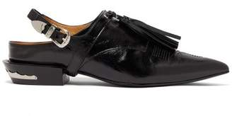 Toga Detachable Tassel Patent Leather Mules - Womens - Black