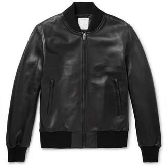 Sandro Leather Bomber Jacket - Men - Black
