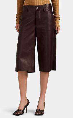 Bottega Veneta Women's Leather Carpenter Culotte Shorts - Wine