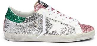 Golden Goose 'Superstar' colourblock glitter coated leather sneakers