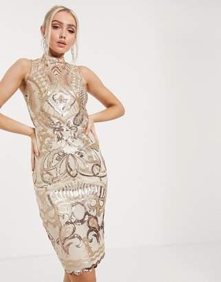Goddiva cut out back detail midi dress in rose gold