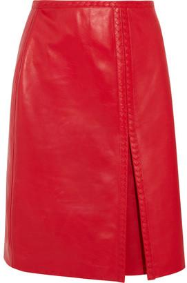 Bottega Veneta - Leather Skirt - Red $3,800 thestylecure.com