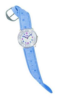 Scout 280381000 Girls' Analog Quartz Watch, Dial with Rhinestone Surround and Blue Leather Strap