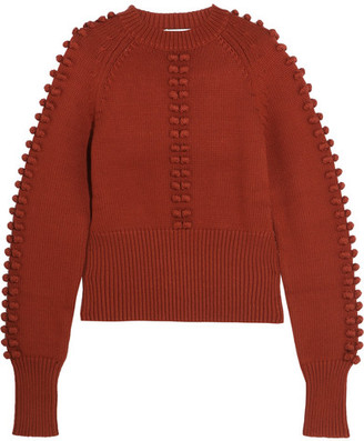 Chloé - Pompom-embellished Knitted Sweater - Brick