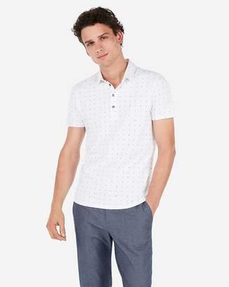 Express Geometric Print Moisture-Wicking Polo Shirt
