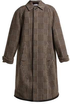 Balenciaga Reflective Detail Checked Wool Coat - Womens - Beige Multi