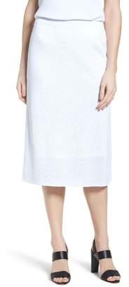 Ming Wang Jacquard Knit Straight Skirt