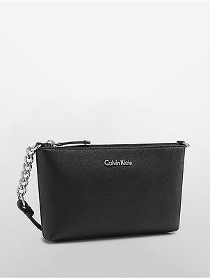 Calvin Klein Calvin Klein Womens Saffiano Leather Crossbody Bag Black
