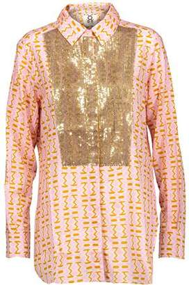 Figue Lamu Sequin-Embellished Printed Cotton-Blend Voile Shirt