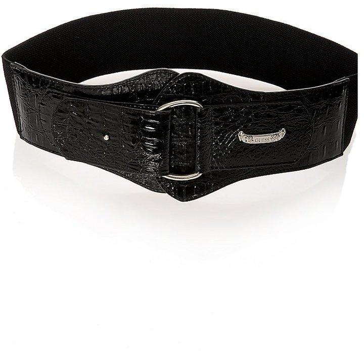 Stretch Waist Belt With Patent Crocodile Print