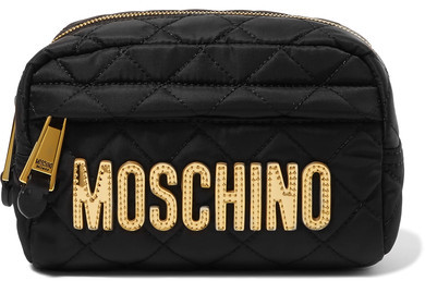 Moschino Moschino - Metallic Faux Leather-trimmed Quilted Shell Cosmetics Case - Black