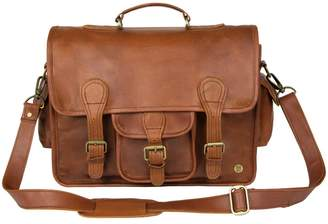 MAHI Leather - Large Leather Harvard Satchel Messenger Bag In Vintage Brown