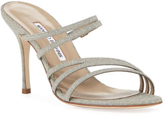 Manolo Blahnik Adena Glittered Strappy Sandals