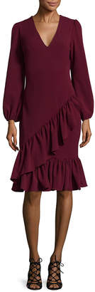 Alexia Admor Ruffled V-Neck Cocktail Dress