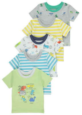 George 5 Pack Dino and Striped Tops