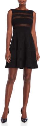 Sandro Lace Stripe Fit & Flare Dress