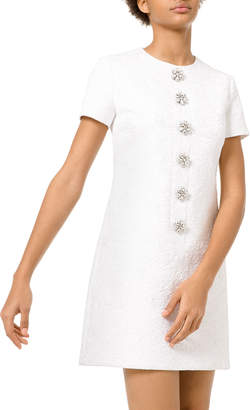 Michael Kors Floral Gem Matelasse Button Shift Dress