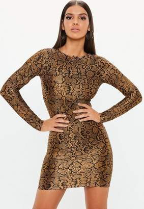 Missguided Brown Animal Plisse Long Sleeve Mini Dress