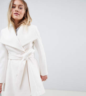 Asos DESIGN Petite waterfall collar coat with tie belt