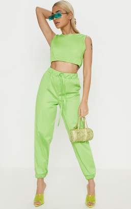 PrettyLittleThing Petite Neon Lime Cargo Joggers