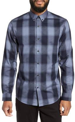 Buffalo David Bitton CALIBRATE Slim Fit Mini Collar Check Flannel Sport Shirt