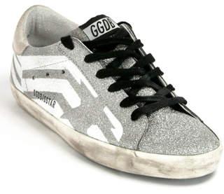 Golden Goose Superstar G35 - Silver Glitter Flag Sneaker