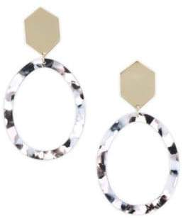 Ettika 18K Goldplated Black Marble Resin Statement Earrings