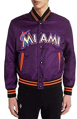 Marcelo Burlon County of Milan Men's Miami Marlins Satin Bomber Jacket