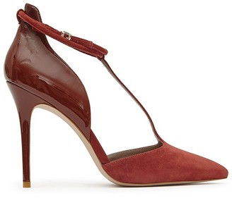 REISS Cary Patent Leather and Suede T Strap Pumps $295 thestylecure.com
