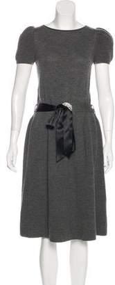 Valentino Belted Virgin Wool Dress