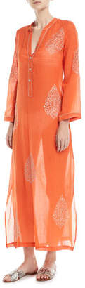 Flora Bella Daios V-Neck Cotton Gauze Kaftan Coverup with Embroidery