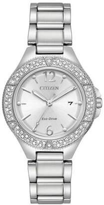 Citizen Silhouette Swarovski Crystal Stainless Steel Link Bracelet Watch