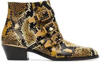 Chloé yellow and black Susanna 30 python print leather boots