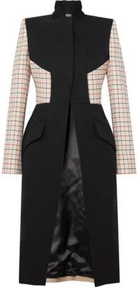 Alexander McQueen Paneled Checked Wool-blend Coat - Black