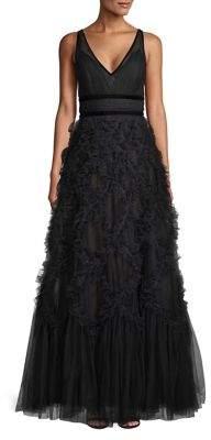 Marchesa Velvet-Trimmed Ruffle Gown
