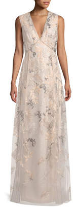 J. Mendel Floral-Embroidered Sleeveless Evening Gown