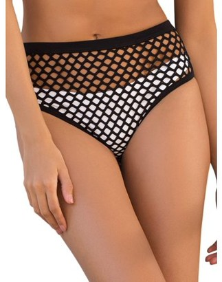 Joan Smalls X Smart & Sexy Womens Fishnet High-Waisted Layering Swim Bottom