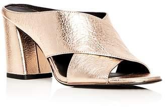 Kenneth Cole Women's Lyra Metallic Leather Block Heel Slide Mules