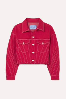 Thierry Mugler Oversized Cropped Distressed Denim Jacket - Red