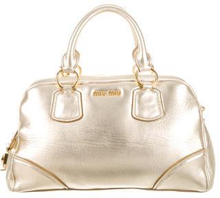 Miu MiuMiu Miu Metallic Leather Satchel